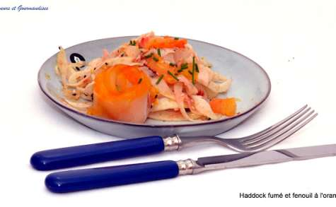 Haddock fumé et Croquante de fenouil à l'orange