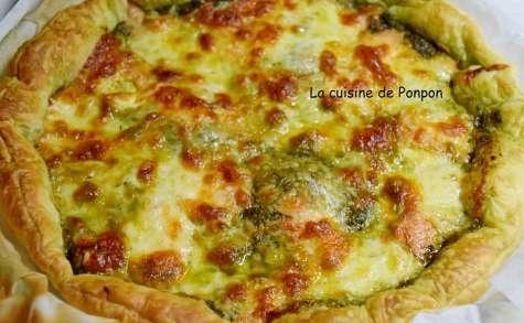 Tarte au pesto, saumon fumé et mozzarella - La cuisine de Ponpon: rapide et facile!