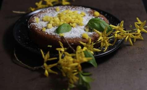 Tendre gâteau à la mangue basilic et noix de coco