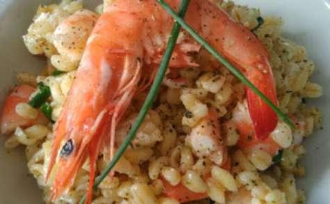 Salade de blé aux crevettes noix et fromage frais - NathyChef