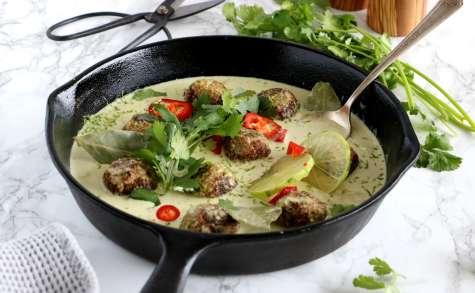 Boulettes végétaliennes au curry vert
