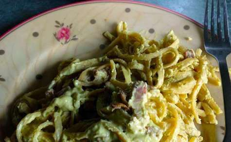 Spaghettis & sauce d'avocat
