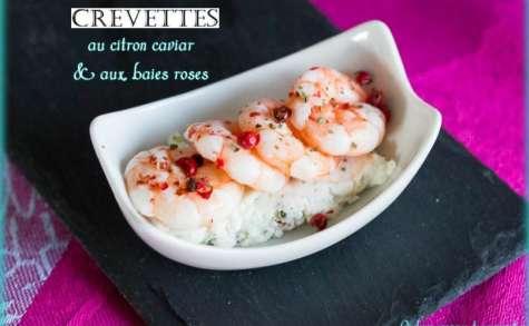 Crevettes au citron caviar et aux baies roses