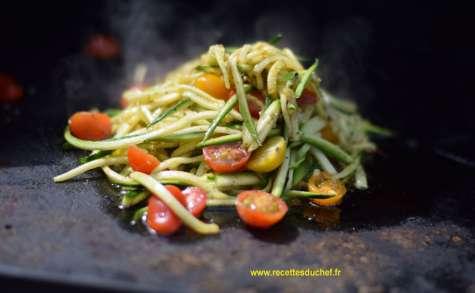 Spaghetti de courgettes à la plancha