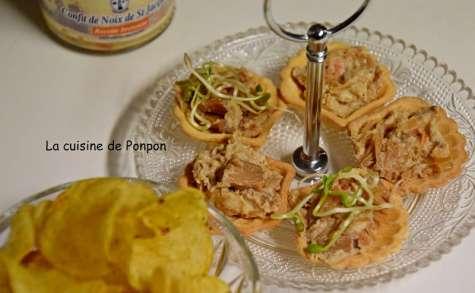 Amuse bouche au confit de noix de Saint Jacques, graines germées et chips au thym-romarin - La cuisine de Ponpon: rapide et facile!