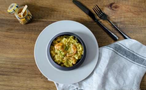 Risotto aux crevettes, curcuma et gingembre