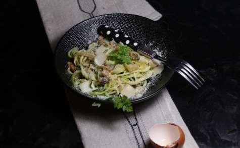 Spaghetti de courgette carbonara