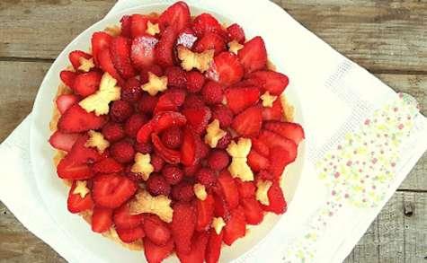 Tarte fraises, framboises et lemon curd