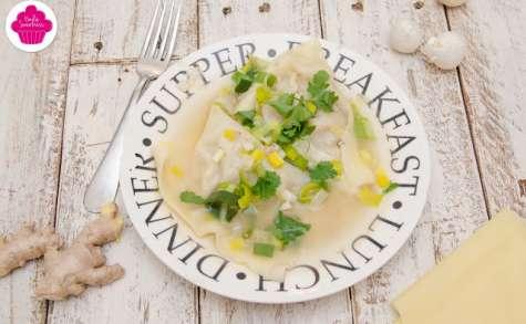 Ravioles de crevettes, bouillon aromatique thaï (aphrodisiaque)