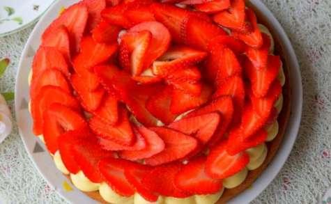 Tarte aux fraises sur sablé breton crème pâtissière