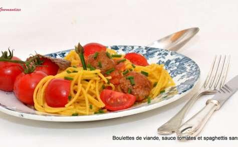 Spaghetti Sarrasin Quinoa aux boulettes de viande.