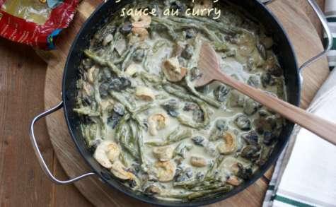 Poêlée de crevettes, champignons et asperges, sauce au curry