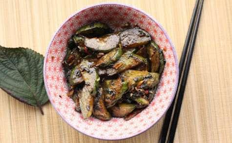 Concombre frit au shiso