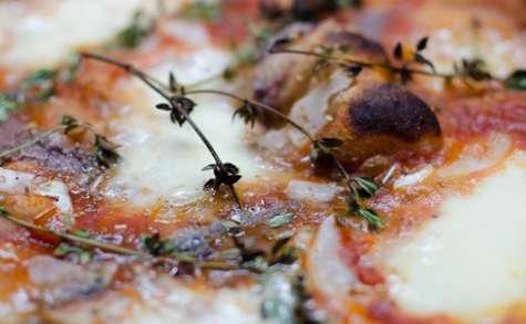 Pizza à la mozzarella, au thym et aux anchois