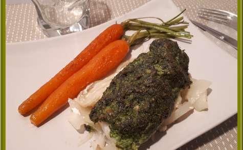 Dos de cabillaud au pesto et carottes glacées