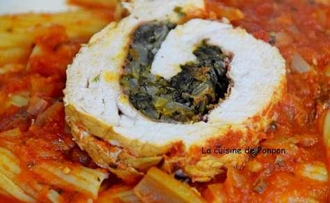 Filet de dinde farci aux pissenlits et crème de tomate