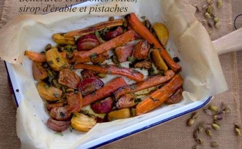 Betteraves et carottes rôties, sirop d'érable et mélasse de grenades