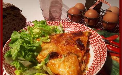 Omelette aux pommes de terre, chorizo, poivrons au four