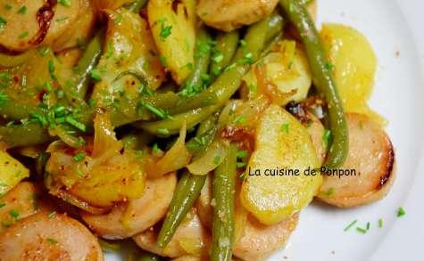 Poêlée de pommes de terre, haricots et boudin de Rethel