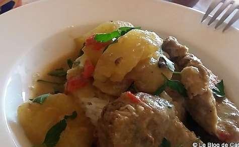 Filet mignon de porc au curry vert et lait de coco
