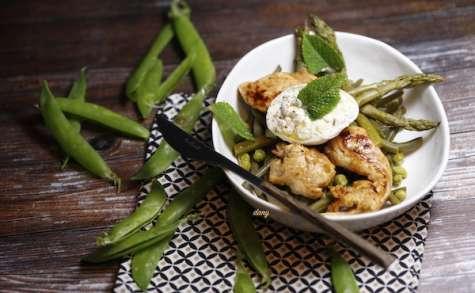 Aiguillettes de poulet à la burrata et aux légumes de printemps