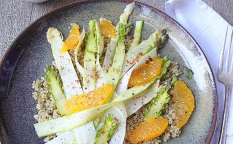 Salade de quinoa croquant, asperges crues et orange