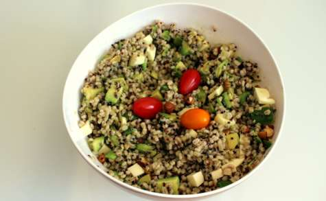 Salade orge perlée, quinoa noir, avocat