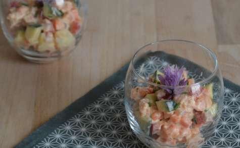 Tartare de légumes aux crevettes