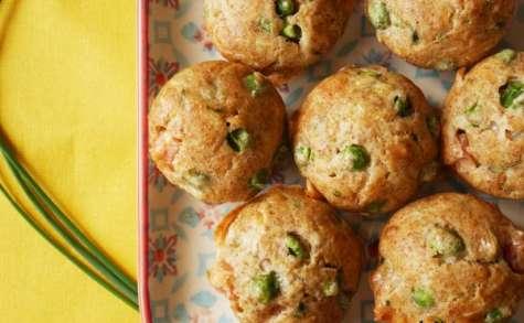 Muffins petits pois, parmesan et ciboulette