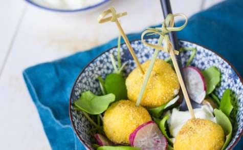Boulettes de tofu panées aux olives et aux algues