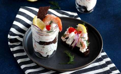Toast Skagen ou toasts suédois aux crevettes
