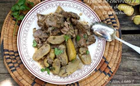 Tajine de chevreau aux artichauts et pommes de terre nouvelles