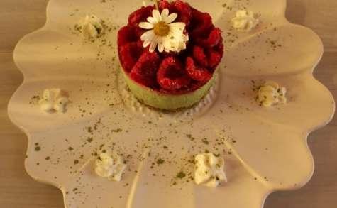 Cheescake au thé vert Matcha sur sa Dacquoise