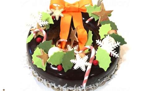 L'entremets couronne de Noël au chocolat