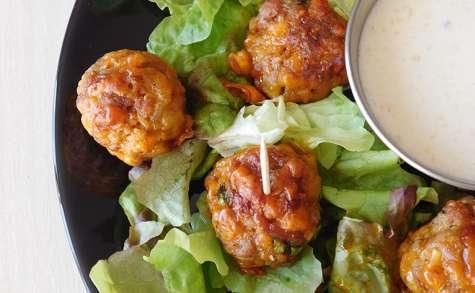Boulettes de chair à saucisse, cheddar et crème parmesan