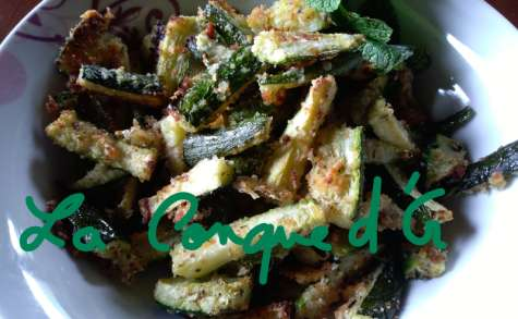Bâtonnets de courgettes panées au parmesan et origan, au four