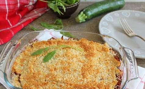Lasagne de courgettes, sans pâte, aux lentilles, tofu et champignons shiitaké