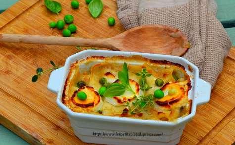 Lasagnes au poulet, petits légumes et bûche de chèvre frais