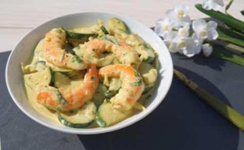 Courgettes et crevettes au curry