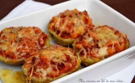Pommes de terre farcies à la tomate cerise, ail et chorizo