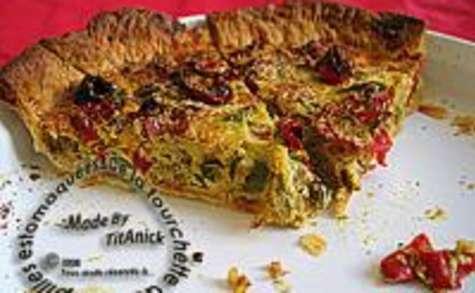 Tarte aux Poivrons, Oignon, Curry et Noix de Coco Râpée