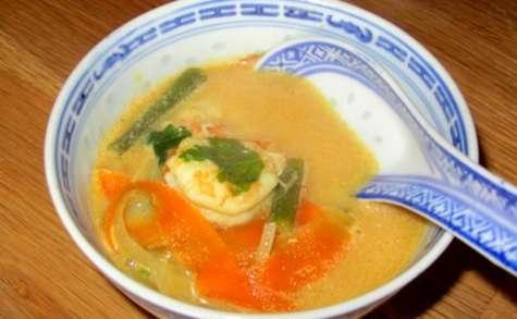 Soupe thaï aux gambas et lait de coco