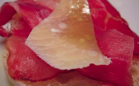 Bruschetta jambon cru et parmesan