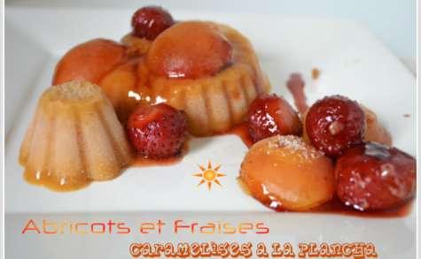 Abricots et fraises caramélisés à la plancha avec son sorbet