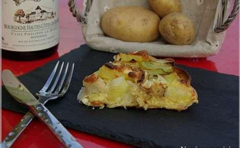 Tarte aux pommes de terre, poireaux et chevre