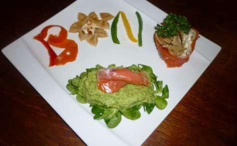 Mousse de brocolis et son petit panier de saumon