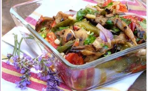 Salade colorée aux légumes d'été (poivrons, tomates cerises, aubergines)