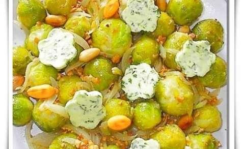 Choux de Bruxelles aux cacahuètes, beurre à la marjolaine