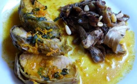 Filet mignon de porc aux aubergines blanches, sauce orange, curcuma et basilic
