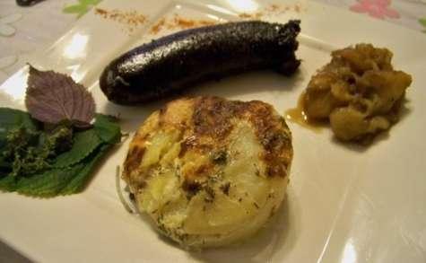 Gratin de pommes de terre et son boudin noir